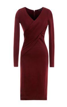 Shop Jersey V-Neck Dress with Draped Bodice by Donna Karan - Moda Operandi