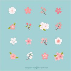 Blossom Vectors, Photos and PSD files Cherry Blossom Art, Peach Blossoms, Cherry Blossom Vector, Jagua Henna, Japanese Patterns, Motif Floral, Floral Illustrations, Cute Wallpapers, Flower Patterns