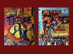 Diptychon | Mona Lisa Brigades | jeweils 80x100 cm | 2014 www.fredtille.blogspot.de