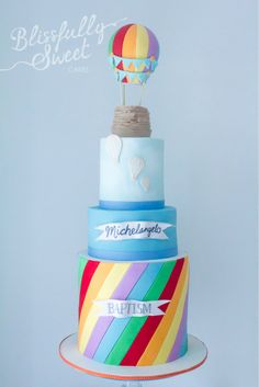 Rainbow Colours Hot Air Balloon Cake by Blissfully Sweet