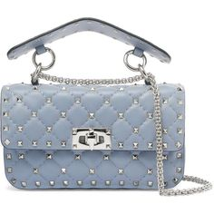 Valentino Matelassé small embellished quilted leather shoulder bag (€2.030) ❤ liked on Polyvore featuring bags, handbags, shoulder bags, grey, gray purse, shoulder bag handbag, shoulder handbags, gray handbags and valentino shoulder bag