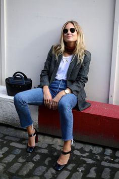 | @andwhatelse - jeans, white tee, blazer and Mary Janes. Very French