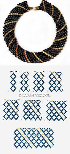 Free pattern for necklace Katrina 11/0-6 mm szalma