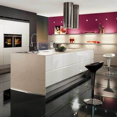 Cool and contemporary black, white, and magenta finishes.  High gloss.  Sleek, modern, and unique.