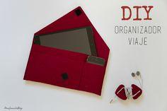 DIY organizador viaje: Cartera para llevar organizados el pasaporte, los billetes, el móvil o la tablet. Fieltro