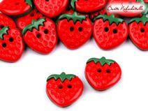"""5 Knöpfe  """"Erdbeere"""""""