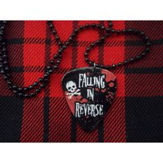 Falling in Reverse Guitar Pick Necklace ($6) ❤ liked on Polyvore featuring jewelry, necklaces, skull head necklace, skull jewelry, guitar pick jewelry, white jewelry and white necklace