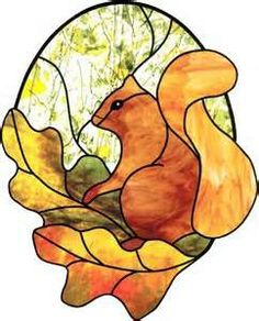 Stained Glass Squirrel Panel