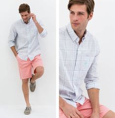 THE BAJA SHORTS Top with a t-shirt and flops for a more casual look or with one of our button-down shirts for a more polished get-up. The Baja Shorts are Cali cool without trying too hard. #bahashorts #buttondownshirt #cali #johnnieo #westcoastprep