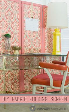 Create a Fabric Folding Screen using fabric and liquid starch - Homeology Modern Vintage
