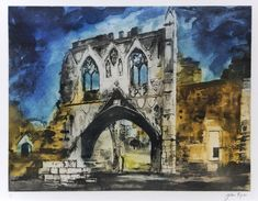 John Piper Kirkham Priory Gateway (N. etching (edition of 100 aside from 19 proofs), 400 x 520 mm. Print Artist, Artist Painting, John Piper Artist, Famous Modern Artists, Romanticism Artists, Architecture Artists, Paintings Famous, Just Ink, Affinity Photo