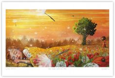 """Soon You'll be Sleeping"", Lisa Aisato, digital, 2016 Art And Illustration, Fantasy Kunst, Fantasy Art, Seasons Of The Year, Mellow Yellow, Illustrators, Art For Kids, Concept Art, Contemporary Art"