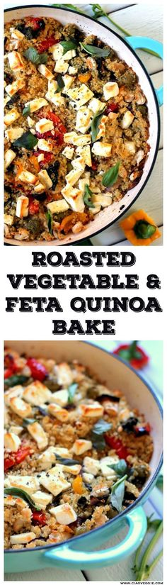 Vegetable & Feta Cheese Quinoa Bake Mediterranean flavors baked into quinoa. An easy to make vegetarian dinner - works as a main dish or a side!Mediterranean flavors baked into quinoa. An easy to make vegetarian dinner - works as a main dish or a side! Clean Eating Vegetarian, Vegetarian Main Dishes, Vegetarian Recipes Dinner, Vegetable Recipes, Vegetable Samosa, Vegetable Dishes, Vegetarian Cooking, Vegetarian Sandwiches, Vegetable Quinoa