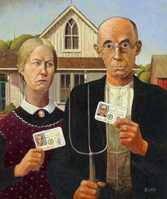 American Gothic After Grant Wood Grant Wood American Gothic, American Gothic Parody, Iowa, Mona Friends, Mona Lisa, Art Grants, Real Id, Famous Artwork, Weird Art
