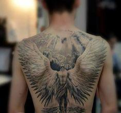 hier finden sie eine tolle idee für einen engel tattoo hier ist ein großer engel mit großen weißen engelsflügeln