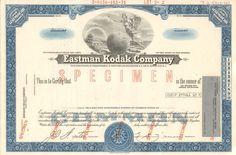 Eastman Kodak Company stock certificate specimen (New Jersey)