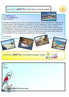 Creative Writing: e-mail summer holiday #11 A1 Level