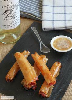 receta de crujientes de sobrasada con espuma de miel. Ingredientes, tiempo de elaboración, trucos y consejos