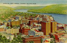 Wheeling West Virginia & Ohio River Aerial by PostcardBoutique
