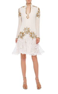 Rodarte Hand Beaded Floral Lace Dress