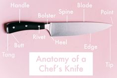 Just how well do you know the parts of your chef's knife? There may be variations between material, size, and weight that set these common knives apart, but whether it costs $20 or $200, all chef's knives have the same basic parts and construction. From the point to the butt and everything in between, take a walk through the anatomy of your chef's knife.