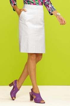 Genuine Leather white skirt and purple leather heels. Must have outfit for spring!