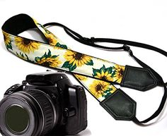 Sunflower design camera strap. Yellow blossoms camera strap. Yellow flowers DSLR / SLR Camera Strap. Durable, light weight and well padded camera strap. code 00138 ** Find out more about the great product at the image link. (This is an Amazon Affiliate link)
