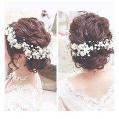 .. . かすみ草と白詰草の華奢な花冠☁️ . .. #ヘアセット#ヘアスタイル#ヘアアレンジ#ヘアメイク#ブライダル#ウェディング#プレ花嫁#ブライダルヘア#結婚式#山梨県#山梨 #編み込み#ラクール#花冠#生花#かすみ草