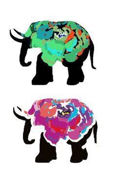 pretty elephants. great--4 little frames