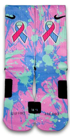 Chances are everyone has a friend or a family member that has gone through cancer. This pair of custom elite socks features splashes of teal, pink, and blue which symbolizes thyroid cancer awareness. Please support this cause today and spread the word. For every pair of thyroid cancer socks sold, a dollar will be donated to the Thyroid Cancer Survivors Association.