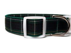 Green & Navy Plaid Handmade Dog Collar  by FuzzyPawCreations, $13.26
