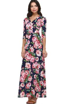 As You Wish Floral Wrap Maxi Dress - Navy - Find the perfect outfit for any occasion at ShopLuckyDuck.com
