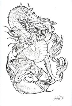 tattoo dragon black and white by JessiGraden.deviantart.com on @deviantART