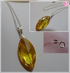 'Amber Cubic Zirconia on Sterling Silver Necklace' is going up for auction at  9am Sat, Jul 14 with a starting bid of $5.