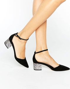 Buy ASOS SHOW UP Pointed Glitter Heels at ASOS. Get the latest trends with ASOS now. Pretty Shoes, Beautiful Shoes, Cute Shoes, Me Too Shoes, Low Heel Shoes, Low Heels, Shoe Boots, Shoes Sandals, Glitter Heels