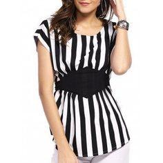 #DressLily - #Dresslily Scoop Neck Dolman Sleeve Striped Blouse For Women - AdoreWe.com