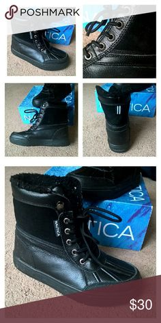 🔖Black Friday🔖Nautica Boots Nautica Boots; Worn once. NIB Leather uppers  Mid cut construction Lace up front closure Metallic eyelet detailing Nautica logo detailing on tongue and side Lightly padded for comfort Durable outsole for traction and grip Color: Black  Size: 4 (Boys) Can also fit a 5 in women's!  These are really warm! Perfect for the winter! (: Nautica  Shoes Boots