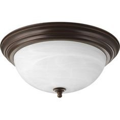Progress Lighting�15.25-in W Antique Bronze Ceiling Flush Mount