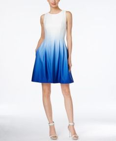 Calvin Klein Sleeveless Ombre Fit \u0026 Flare Dress on sale