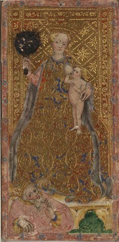 The Papess -- Cary-Yale Visconti Tarot Deck, Italy, ca 1441