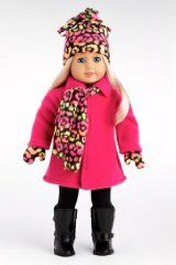 Warm and Cozy - Hot Pink Winter Coat, Black Leggings, Colorful Hat, Scarf and Mittens (Boots not included) - 18 Inch American Girl Doll Clothes