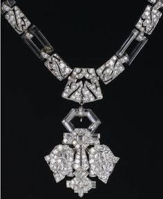 An art deco rock crystal and diamond necklace, French, circa 1930.
