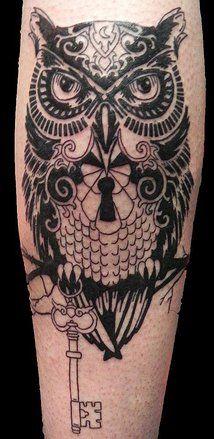 Owl and Key A Thin Line Tattoo of Plainfield, Illinois | BILL SORENSEN