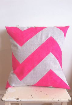 Neon Pink Fat Chevron - Cover only - Wildly comfortably throw cushion in neon pink, for your home. via Etsy