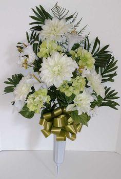 Mixed Dahlia Cemetery Vase with White Flowers