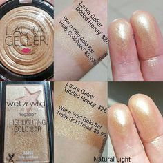 Laura geller gilded honey An exact dupe Wet n wild the gold bar highlight Skincare Dupes, Drugstore Makeup Dupes, Beauty Dupes, Makeup Swatches, Highlighter Makeup, Skin Makeup, Beauty Makeup, Concealer, Makeup Geek