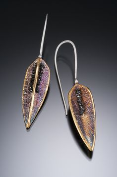 NISA Jewelry....Seeded Pod Earrings; silver (PMC3), 24k gold, and rough black diamonds sewn in.