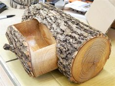 Bandsaw box from the log of an ash tree.