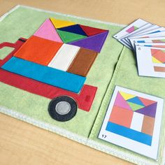 Truck for color bricks game. Felt puzzle educational toy for