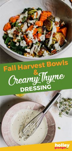 Boost your fall nutrition with a giant Harvest Bowl of roasted sweet potatoes, Brussels sprouts & butternut squash topped with a zesty yogurt dressing. Great for a healthy lunch or dinner! Fall Dinner Recipes, Fall Recipes, Healthy Recipes, Healthy Dinners, Weeknight Dinners, Easy Dinners, Delicious Recipes, Healthy Foods, Dinner Ideas